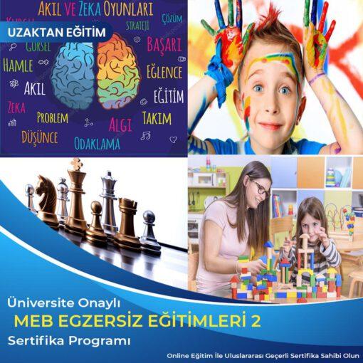 Meb Egzersiz Eğitimleri 2 Sertifika ,Akıl zeka oyunları ve satranç eğitmenliği, yaratıcı drama eğitmenliği, oyun terapisi uygulayıcı eğitimi